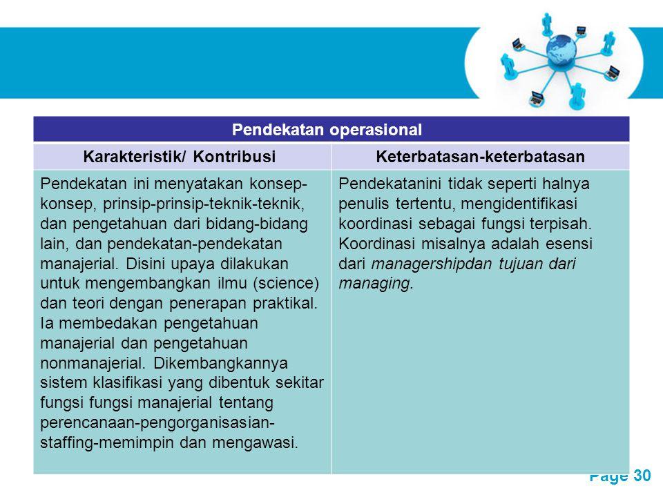 Pendekatan operasional Karakteristik/ Kontribusi