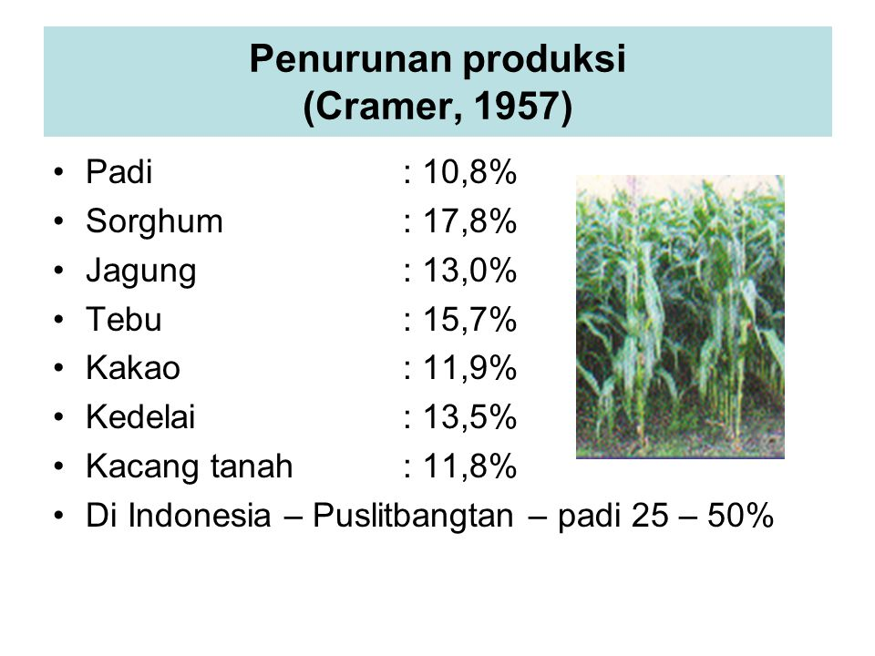 Penurunan produksi (Cramer, 1957)