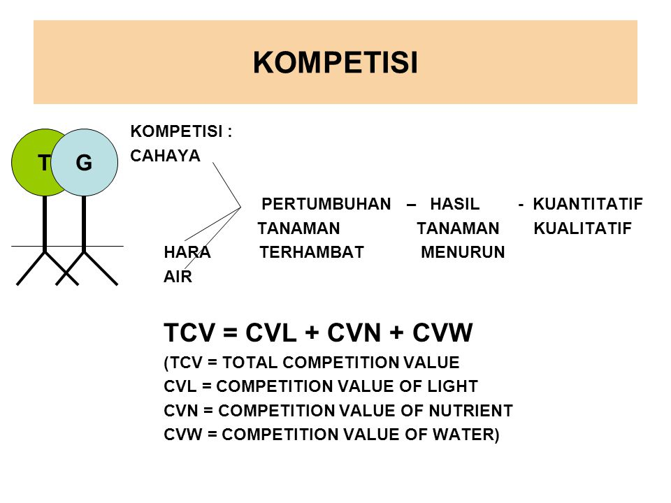 KOMPETISI TCV = CVL + CVN + CVW T G KOMPETISI : CAHAYA