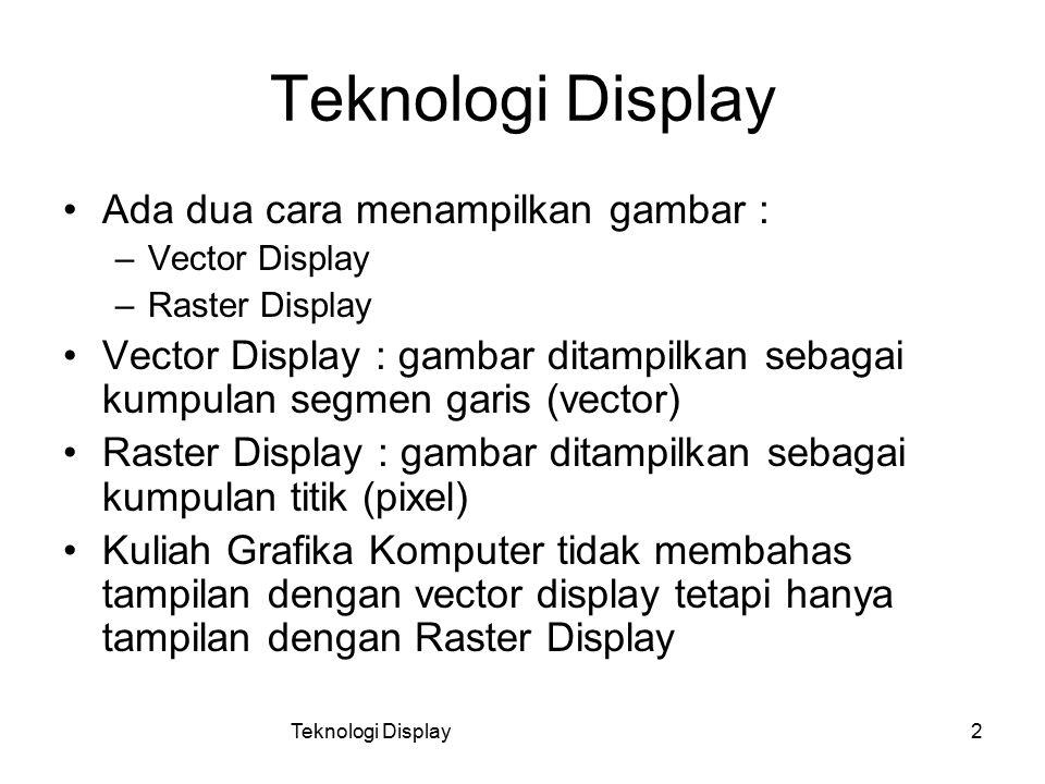 Teknologi Display Ada dua cara menampilkan gambar :