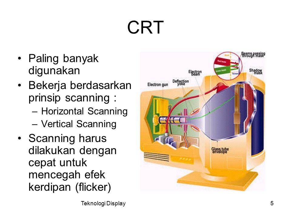 CRT Paling banyak digunakan Bekerja berdasarkan prinsip scanning :