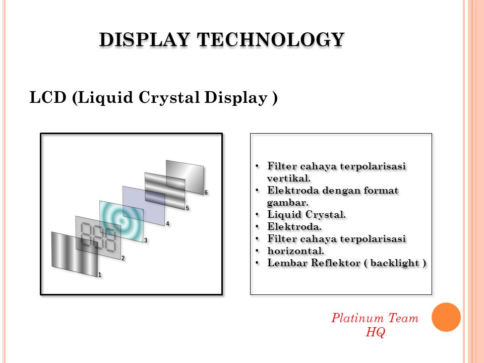 DISPLAY TECHNOLOGY LCD (Liquid Crystal Display ) Platinum Team HQ