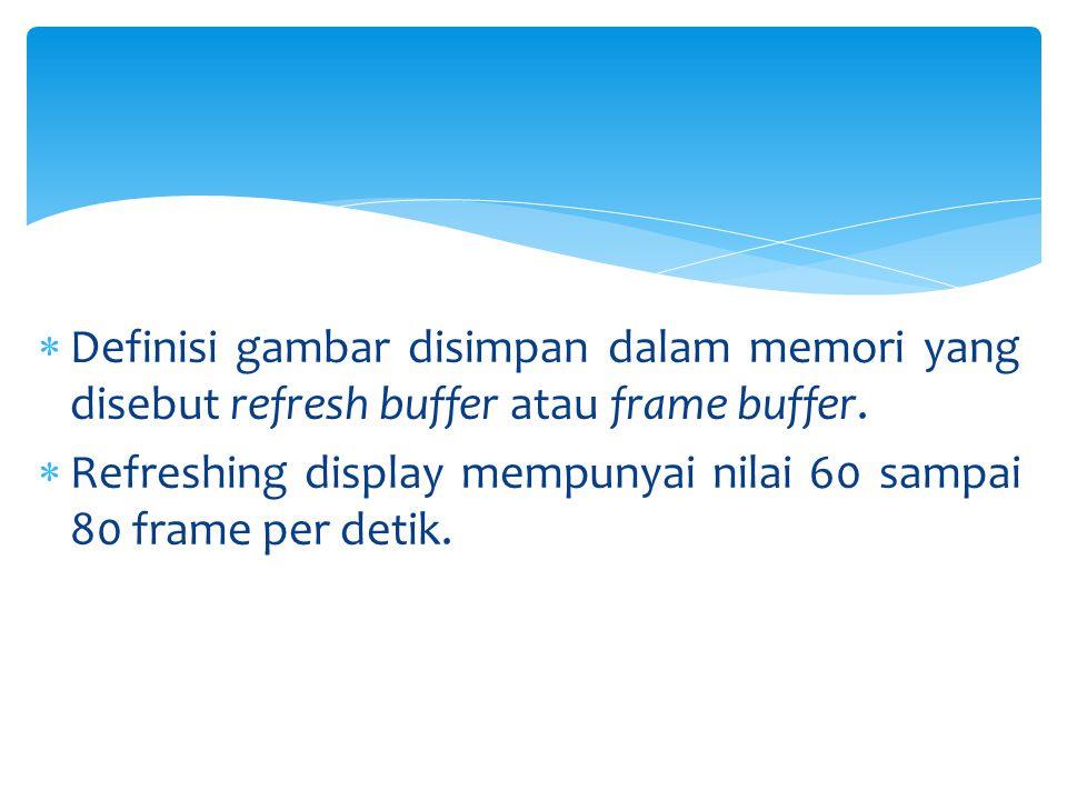 Definisi gambar disimpan dalam memori yang disebut refresh buffer atau frame buffer.