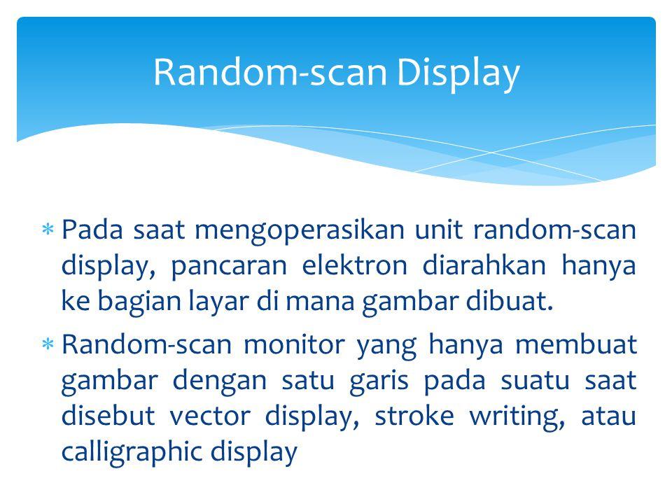 Random-scan Display Pada saat mengoperasikan unit random-scan display, pancaran elektron diarahkan hanya ke bagian layar di mana gambar dibuat.