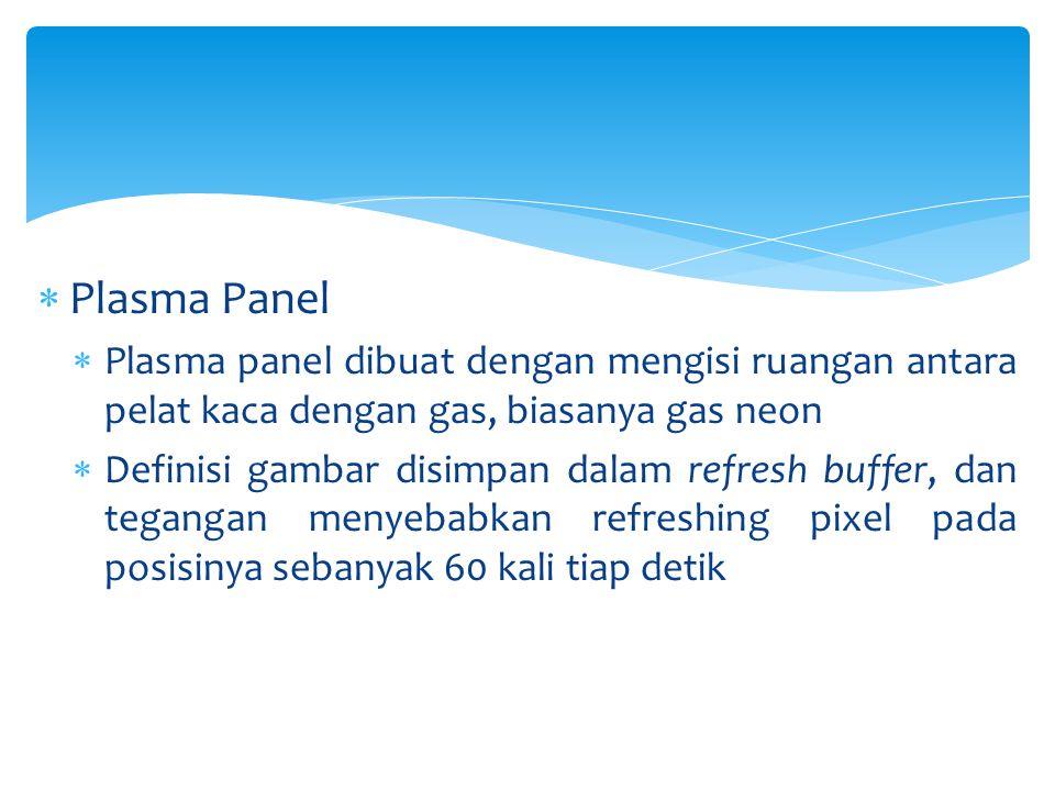Plasma Panel Plasma panel dibuat dengan mengisi ruangan antara pelat kaca dengan gas, biasanya gas neon.