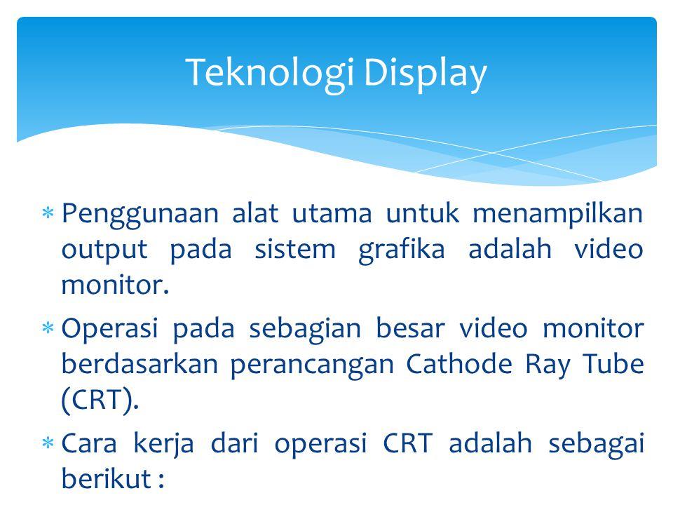 Teknologi Display Penggunaan alat utama untuk menampilkan output pada sistem grafika adalah video monitor.