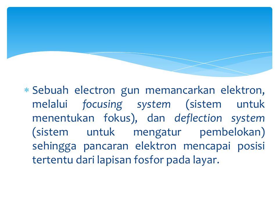 Sebuah electron gun memancarkan elektron, melalui focusing system (sistem untuk menentukan fokus), dan deflection system (sistem untuk mengatur pembelokan) sehingga pancaran elektron mencapai posisi tertentu dari lapisan fosfor pada layar.