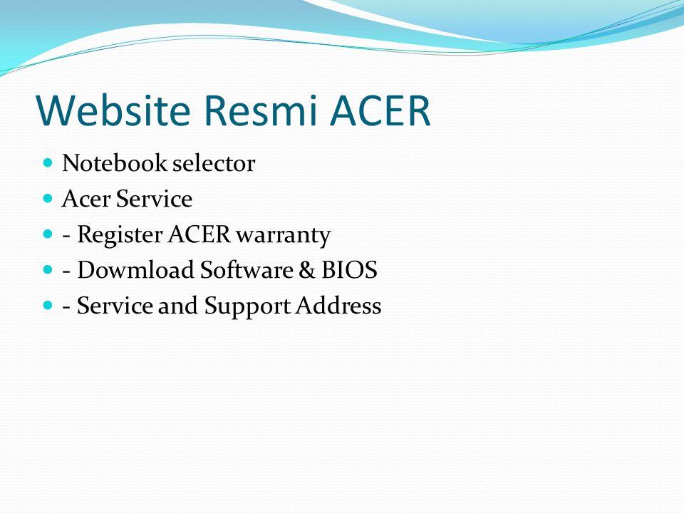 Website Resmi ACER Notebook selector Acer Service