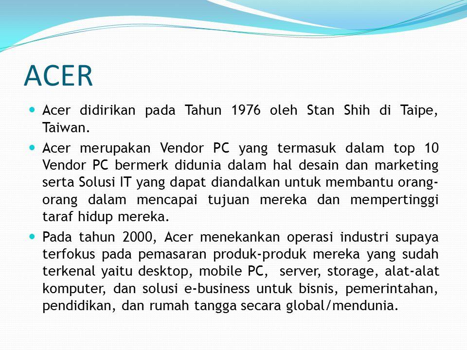 ACER Acer didirikan pada Tahun 1976 oleh Stan Shih di Taipe, Taiwan.