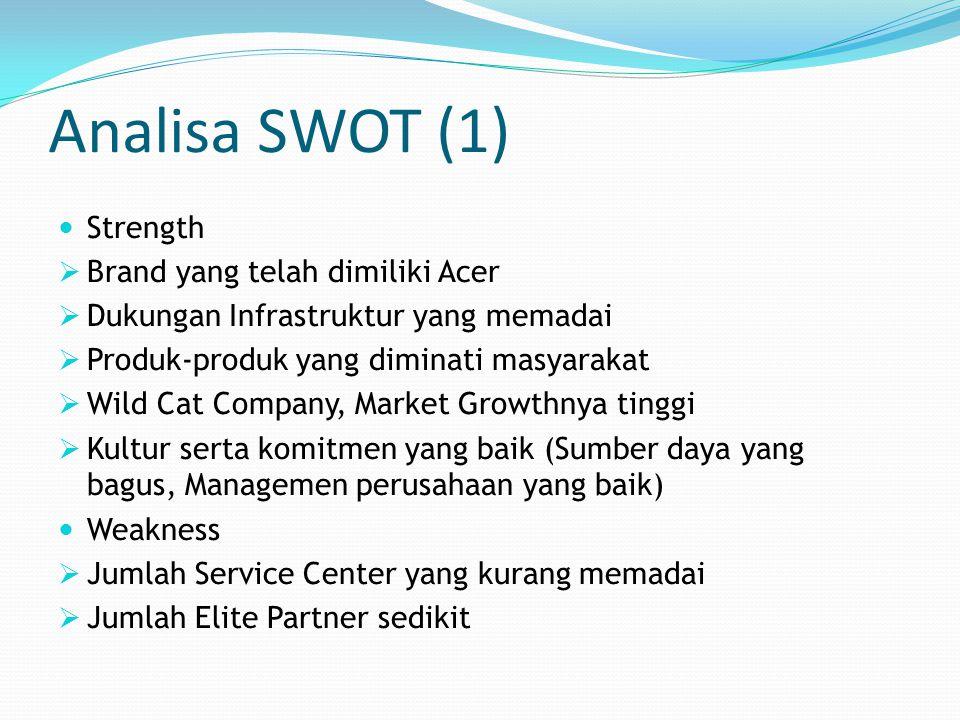 Analisa SWOT (1) Strength Brand yang telah dimiliki Acer