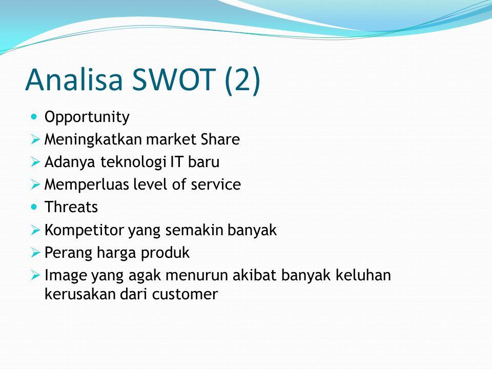 Analisa SWOT (2) Opportunity Meningkatkan market Share