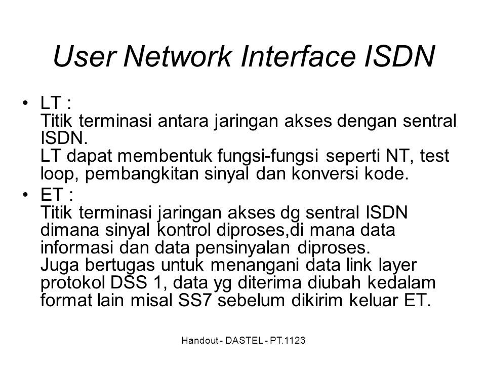 User Network Interface ISDN