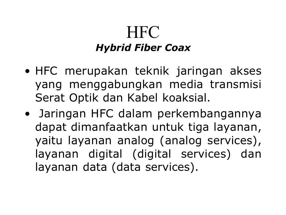 HFC Hybrid Fiber Coax HFC merupakan teknik jaringan akses yang menggabungkan media transmisi Serat Optik dan Kabel koaksial.
