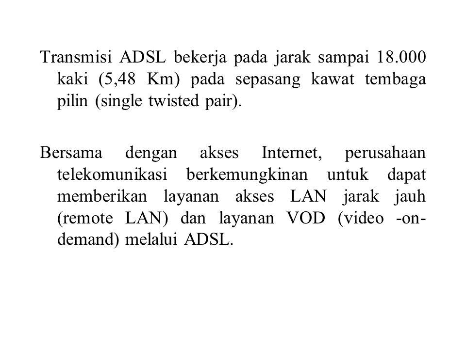 Transmisi ADSL bekerja pada jarak sampai 18