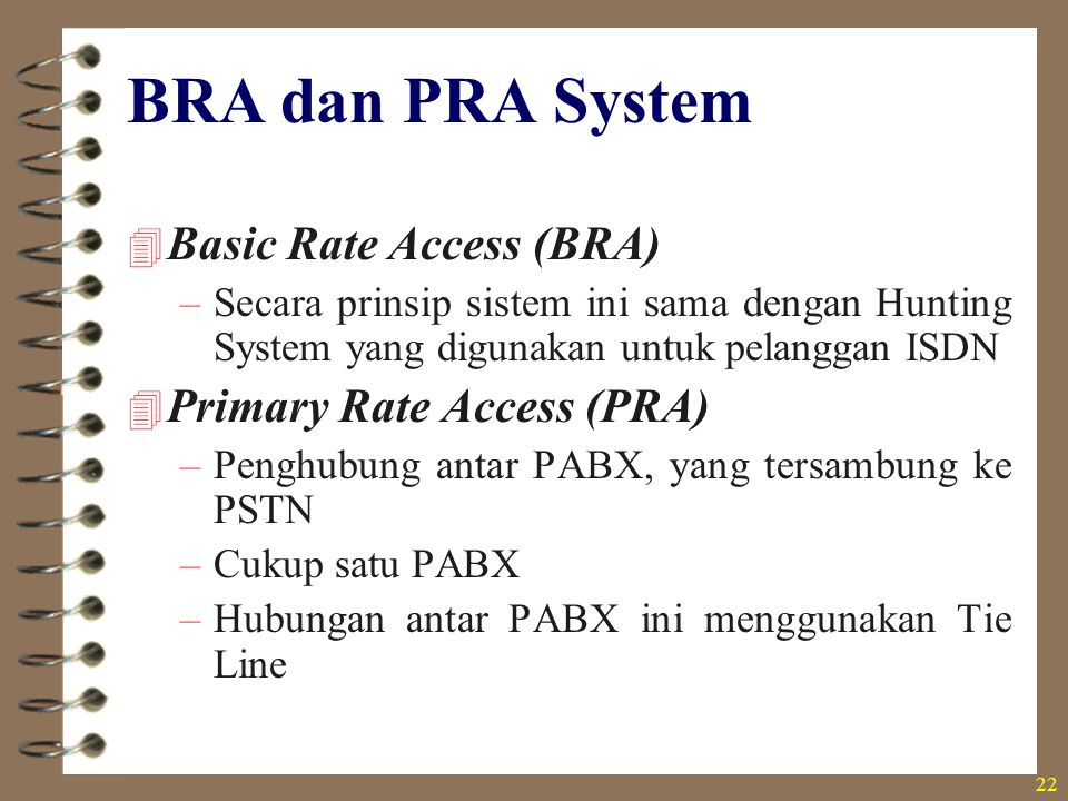 BRA dan PRA System Basic Rate Access (BRA) Primary Rate Access (PRA)