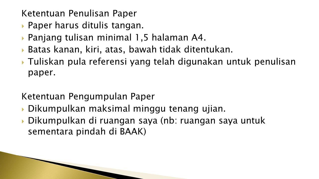 Ketentuan Penulisan Paper