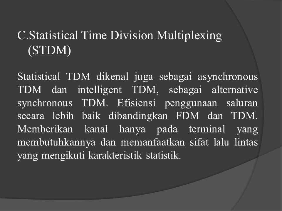 Statistical Time Division Multiplexing (STDM)
