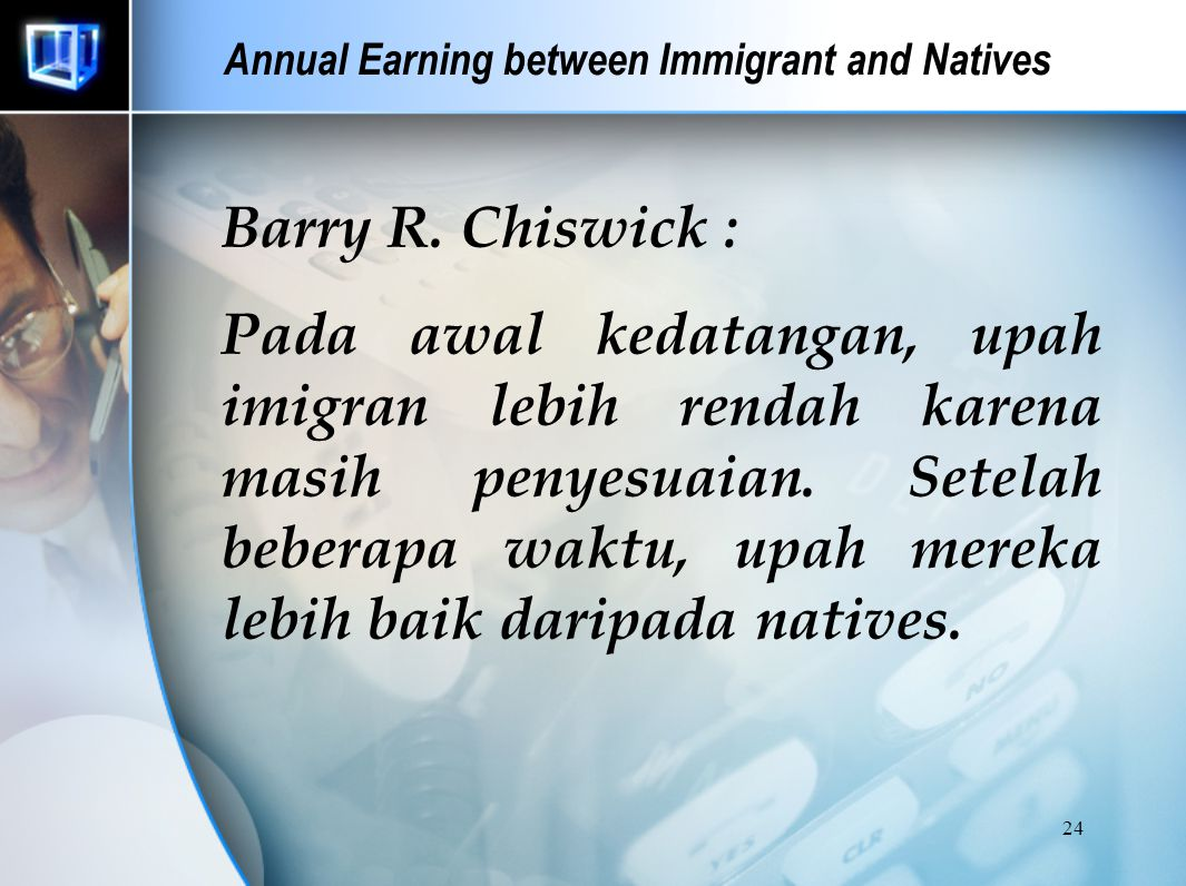 Annual Earning between Immigrant and Natives