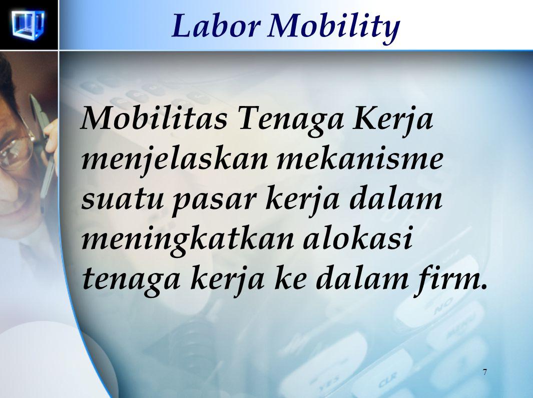 Labor Mobility Mobilitas Tenaga Kerja menjelaskan mekanisme suatu pasar kerja dalam meningkatkan alokasi tenaga kerja ke dalam firm.