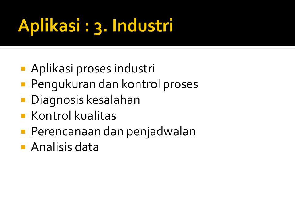 Aplikasi : 3. Industri Aplikasi proses industri
