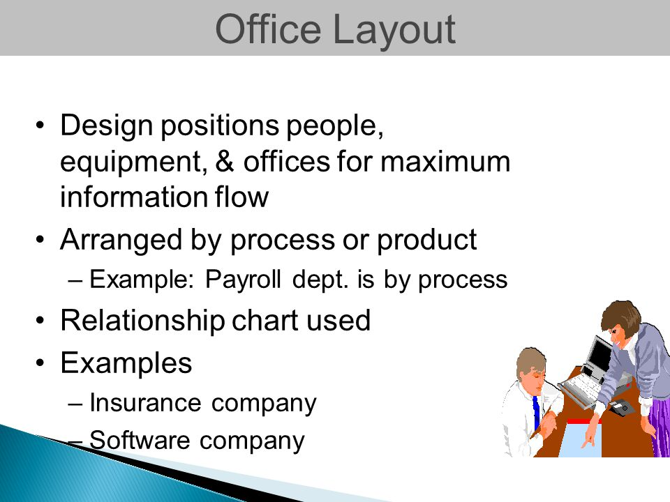 Office Layout Design positions people, equipment, & offices for maximum information flow. Arranged by process or product.