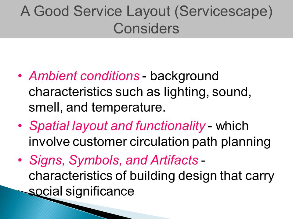 A Good Service Layout (Servicescape) Considers