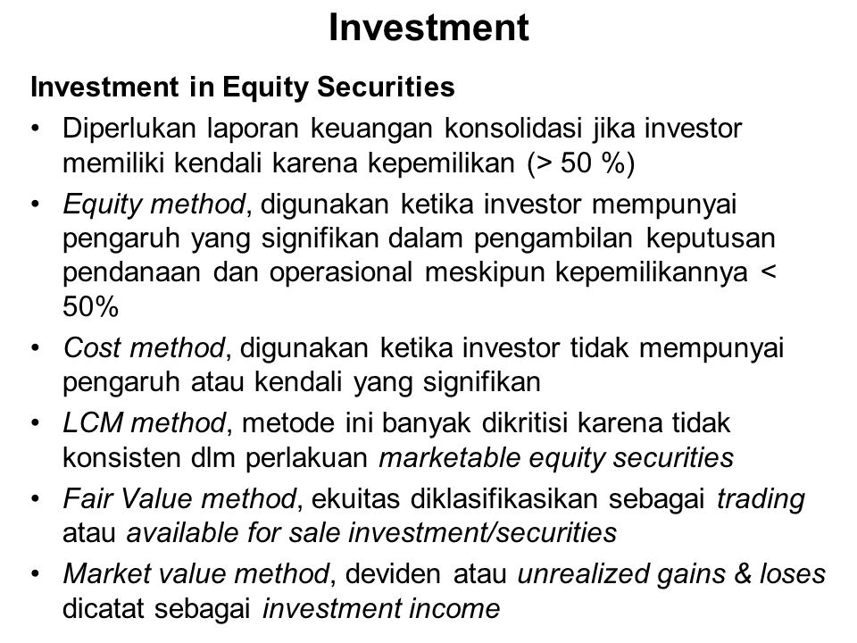 Investment Investment in Equity Securities