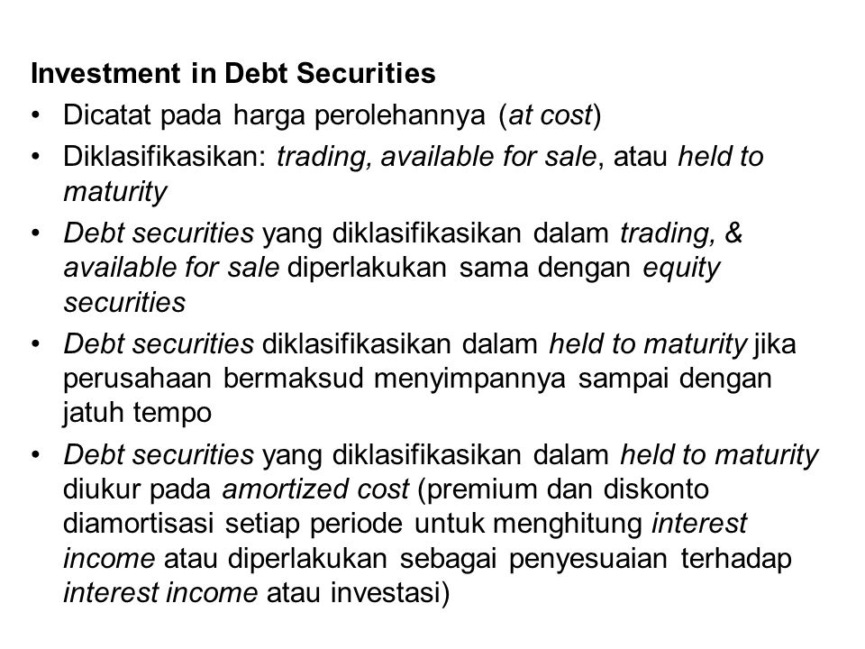 Investment in Debt Securities