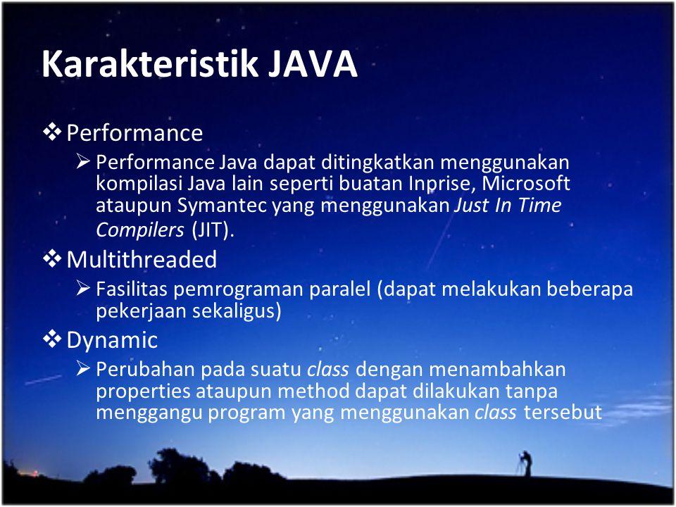 Karakteristik JAVA Performance Multithreaded Dynamic