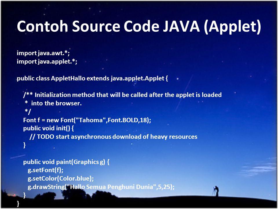 Contoh Source Code JAVA (Applet)