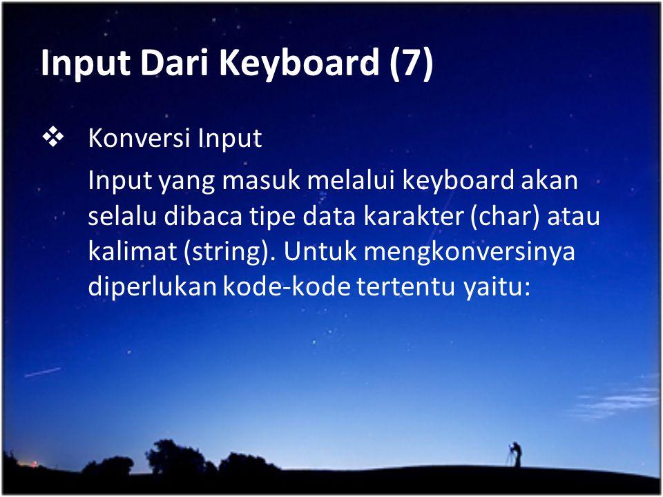 Input Dari Keyboard (7) Konversi Input