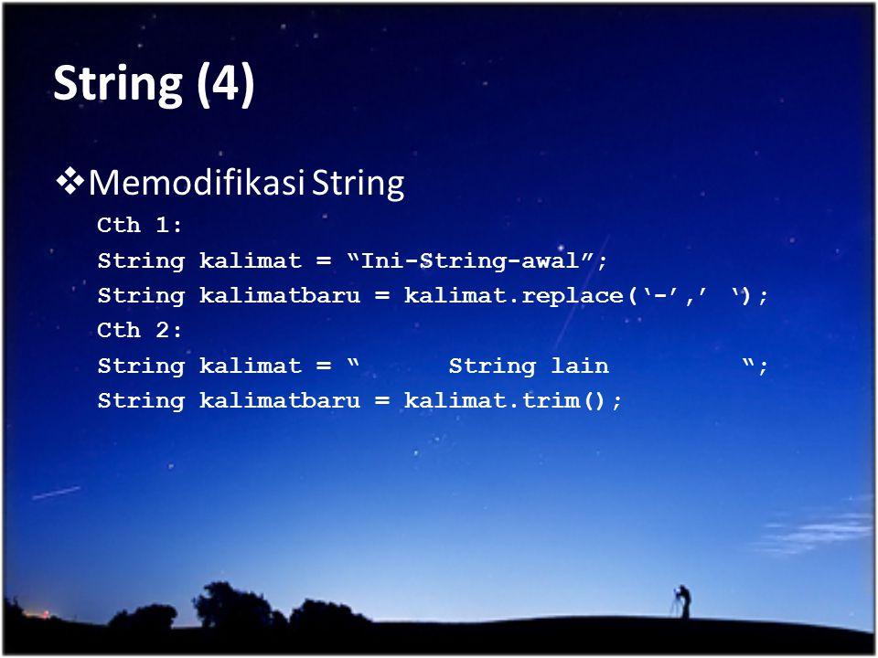 String (4) Memodifikasi String Cth 1: