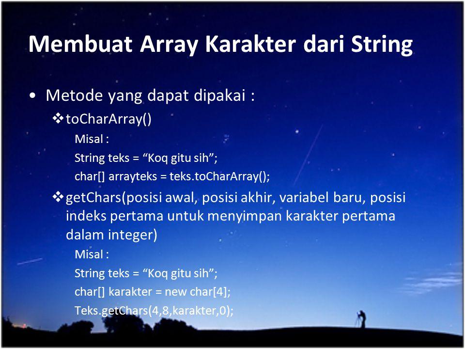 Membuat Array Karakter dari String