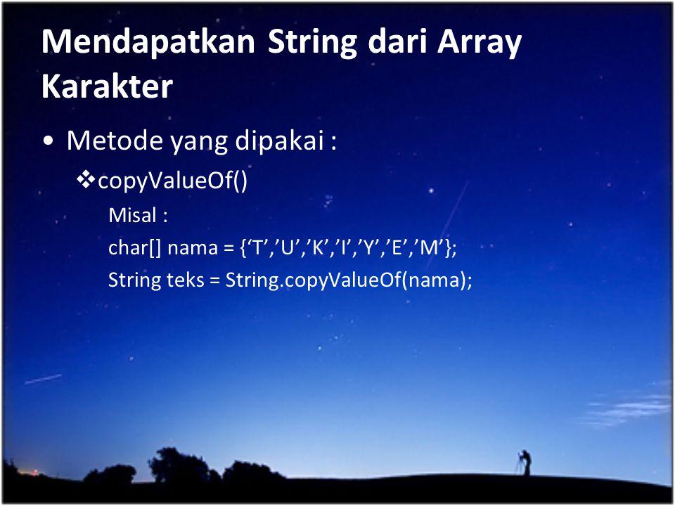 Mendapatkan String dari Array Karakter