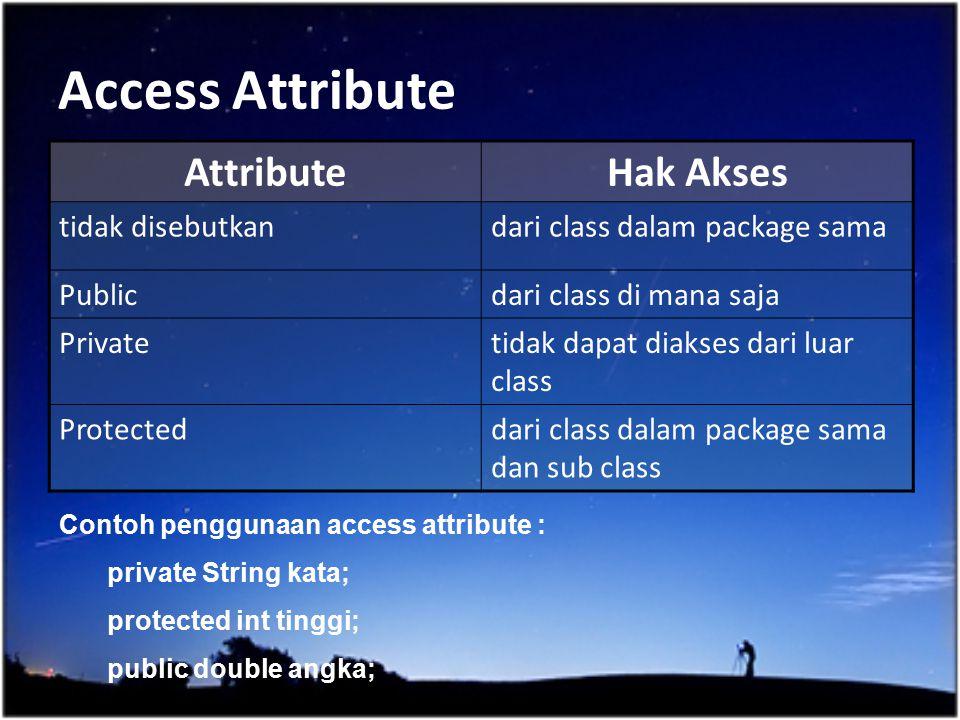 Access Attribute Attribute Hak Akses tidak disebutkan
