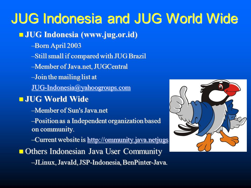 JUG Indonesia and JUG World Wide