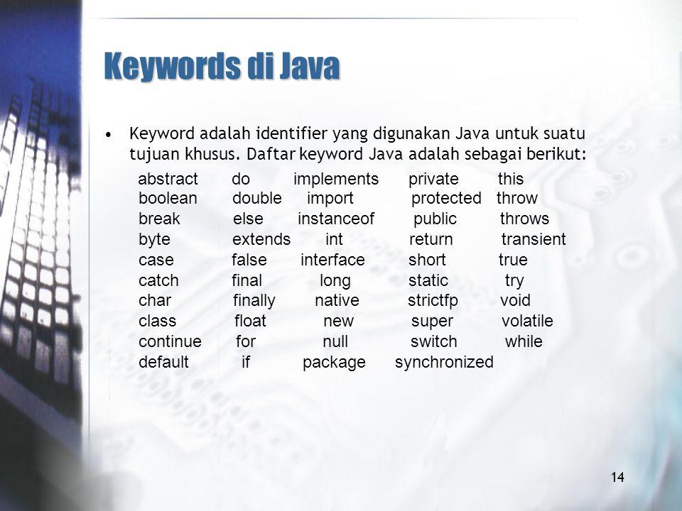Keywords di Java Keyword adalah identifier yang digunakan Java untuk suatu tujuan khusus. Daftar keyword Java adalah sebagai berikut: