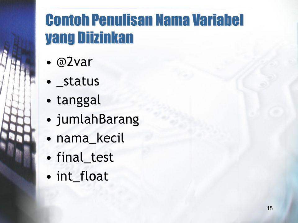 Contoh Penulisan Nama Variabel yang Diizinkan