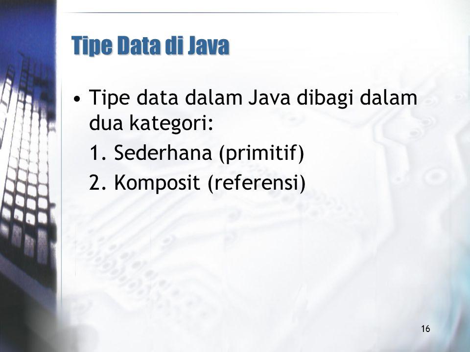 Tipe Data di Java Tipe data dalam Java dibagi dalam dua kategori: