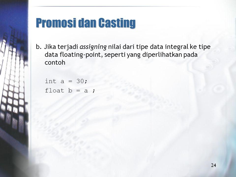 Promosi dan Casting b. Jika terjadi assigning nilai dari tipe data integral ke tipe data floating-point, seperti yang diperlihatkan pada contoh.