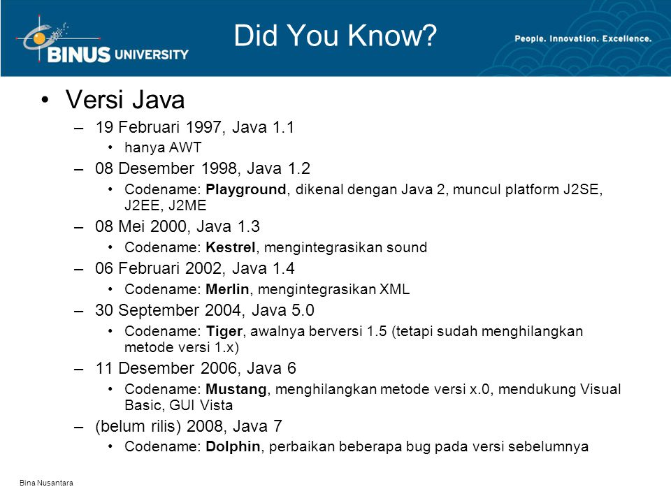 Did You Know Versi Java 19 Februari 1997, Java 1.1