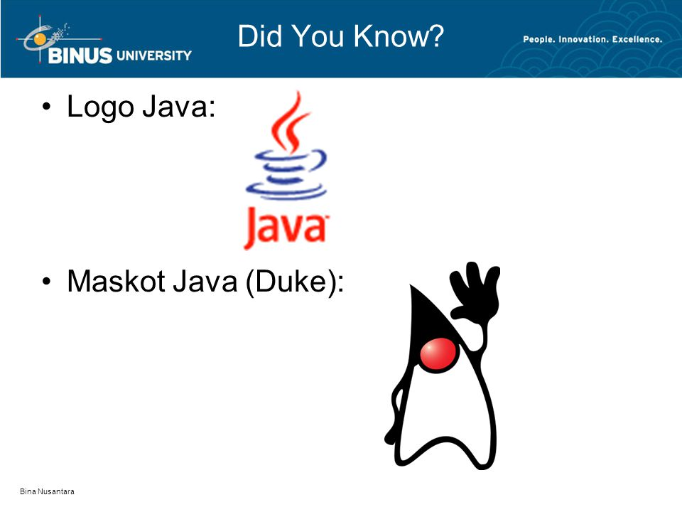 Did You Know Logo Java: Maskot Java (Duke): Bina Nusantara