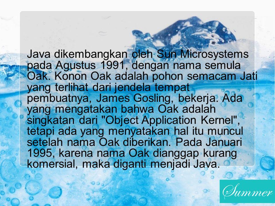 Java dikembangkan oleh Sun Microsystems pada Agustus 1991, dengan nama semula Oak.