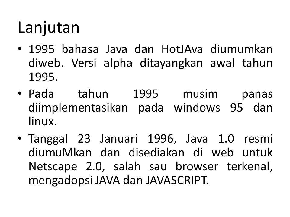 Lanjutan 1995 bahasa Java dan HotJAva diumumkan diweb. Versi alpha ditayangkan awal tahun 1995.