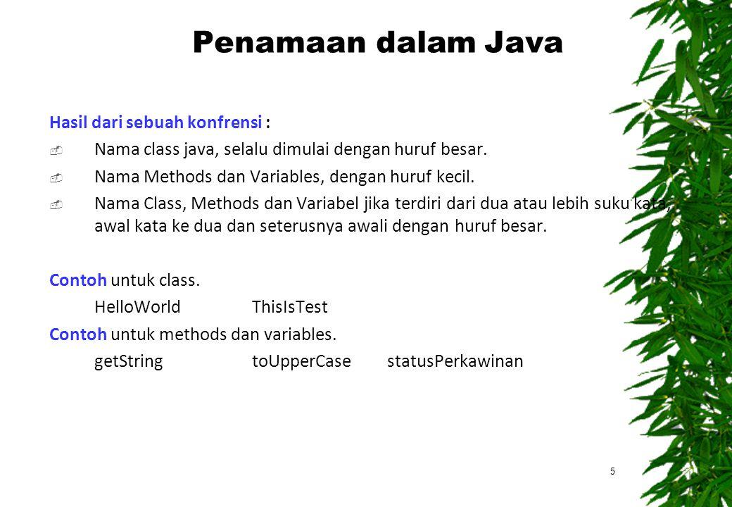 Penamaan dalam Java Hasil dari sebuah konfrensi :
