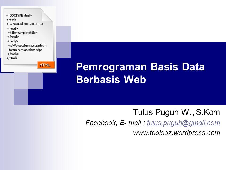 Pemrograman Basis Data Berbasis Web
