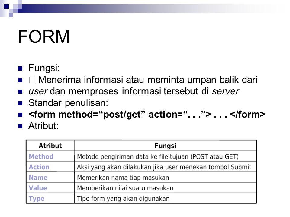 FORM Fungsi:  Menerima informasi atau meminta umpan balik dari