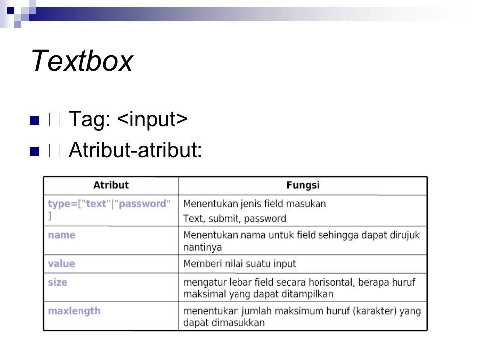 Textbox  Tag: <input>  Atribut-atribut: