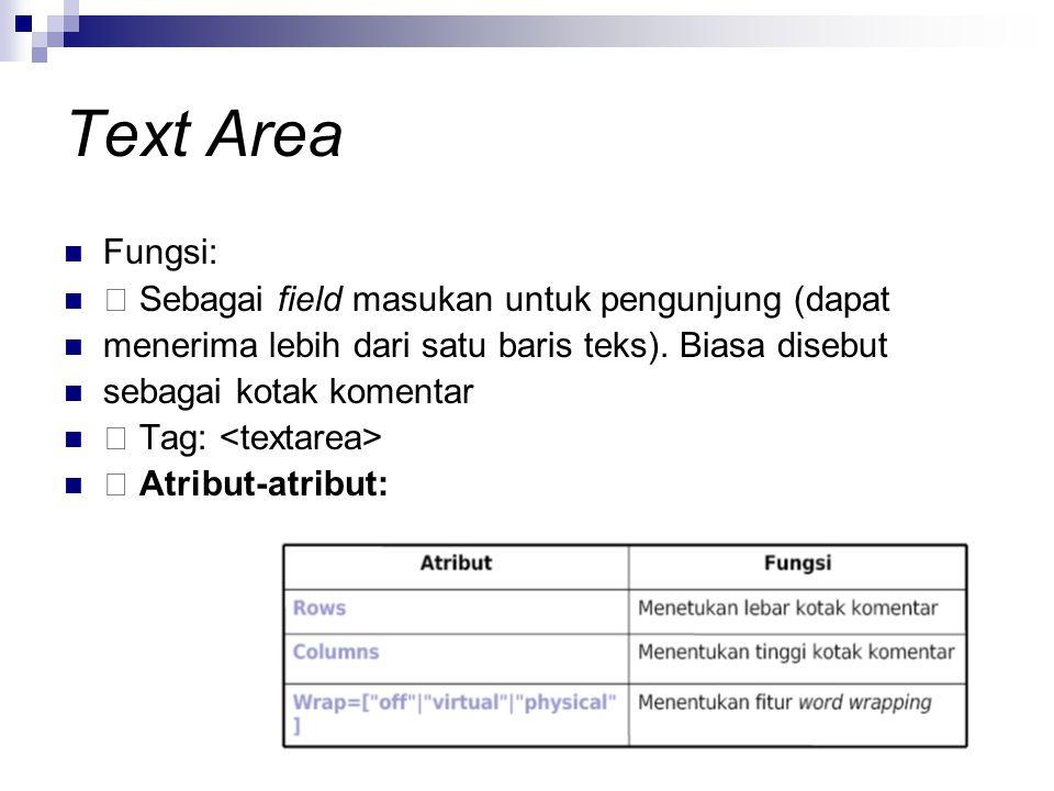 Text Area Fungsi:  Sebagai field masukan untuk pengunjung (dapat