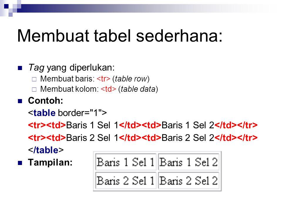 Membuat tabel sederhana: